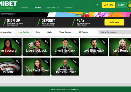 The Live Dealer section is where you can try out an array of Unibet live games