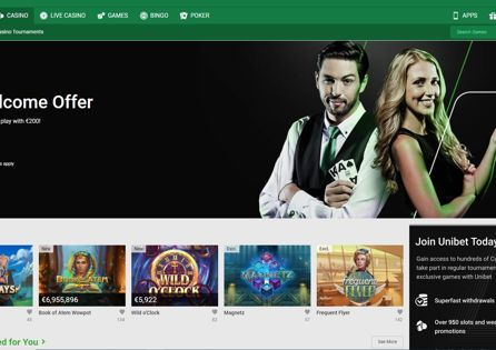 The Unibet Casino homepage displays welcome offers and Unibet Picks