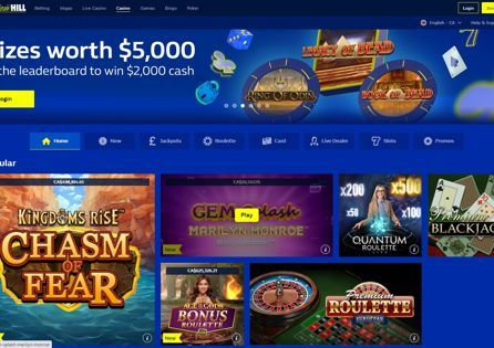 The William Hill Casino homepage displays special offers and featured games