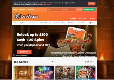 Find the newest promotions and top games at the Leo Vegas Casino homepage