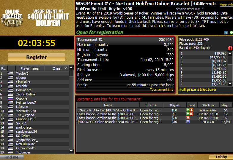 Event #7: $400 WSOP.com ONLINE No-Limit Hold'em