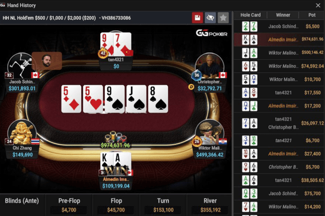 An almost $1M hand occured on GGPoker