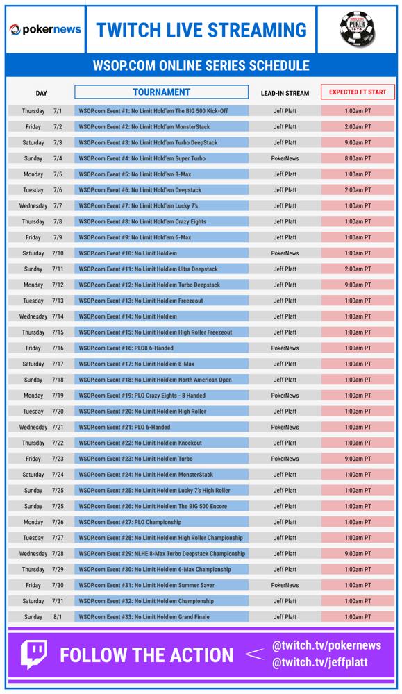 PokerNews Stream Schedule