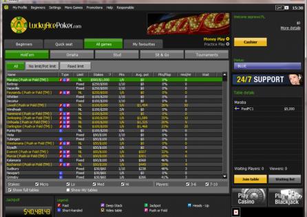 LuckyAcePoker Cash Game Lobby
