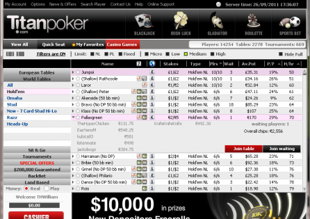 Titan Poker Cash Game Lobby