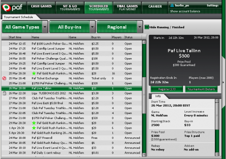 This is the PAF poker lobby with tournament dates and poker players' results.