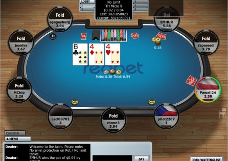 Redbet Poker table with cards