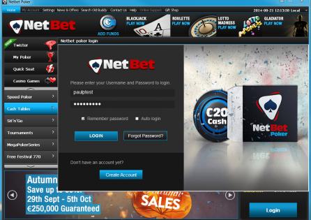 NetBet Login page