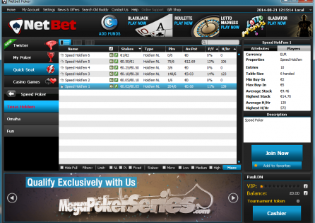 NetBet Speed Poker Lobby