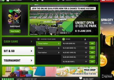 Unibet Poker Mobile Lobby
