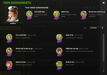The Unibet Poker Mobile shows the list of mobile poker achievements.