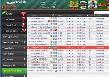 PaddyPower Poker Lobby