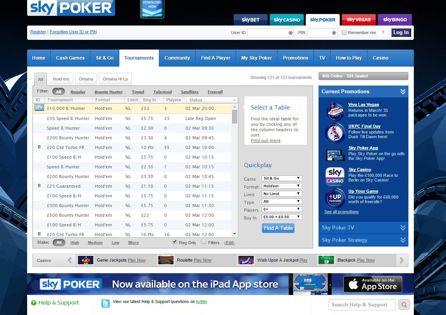 Sky Poker Lobby