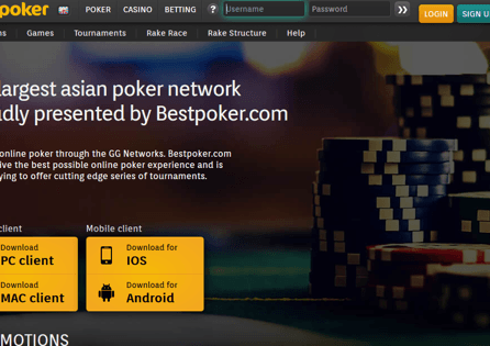 This is the BestPoker homepage that includes various poker versions