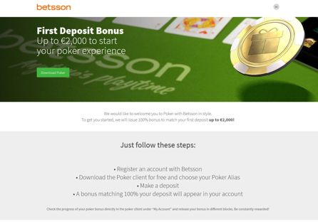 Betsson Poker First Deposit Bonus