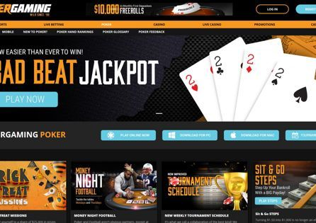 The Tiger Gaming Poker homepage shows buttons to download or play poker online.
