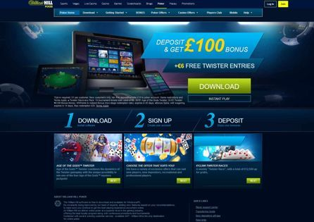 William Hill Poker homepage shows the steps how to set up online poker gameplay and the welcome offer.
