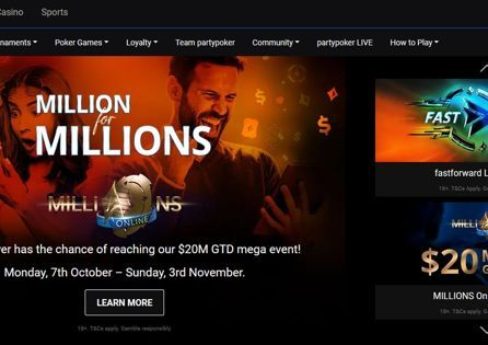 The Partypoker homepage shows popular Party Poker promotions.