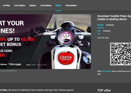 Tonybet Poker Homepage