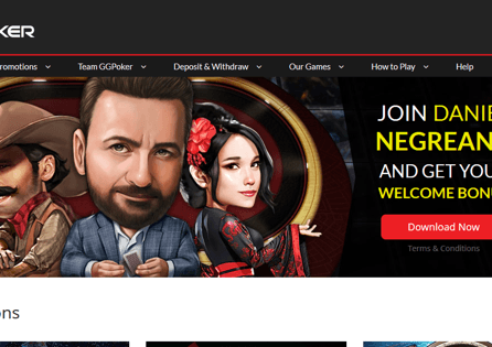 The GGPoker homepage invites the visitors to sign up to play poker games.