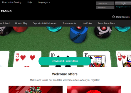 The PokerStars homepage shows the game download button and welcome offer options.