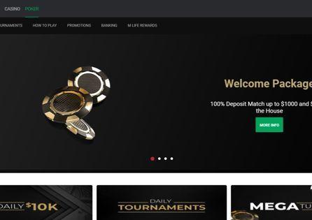 Golden and black poker chips appear in the BetMGM Poker NJ promotional homepage slide.