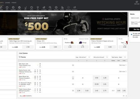 This is BetMGM homepage with sports betting odds on display.
